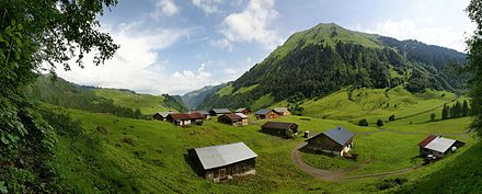Austrian rural area of Schoppernau in summer Vorderhopfreben Untschenspitze 1.jpg