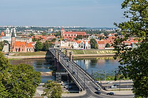 Vytautas the Great Bridge from hill, Kaunas, Lithuania - Diliff