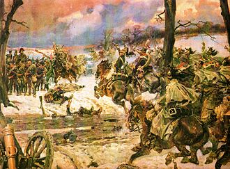 Painting shows French dragoons and Polish lancers attacking Russian infantry.