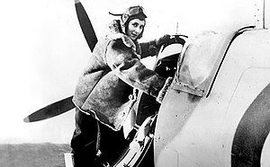 Air Transport Auxiliary - Diana Barnato Walker climbing into the cockpit of a Spitfire.