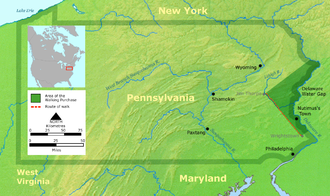 Walking Purchase - The area acquired by the Penns under the Walking Treaty of 1737, northern Delaware River sources along northeast  border between the colonial Province of Pennsylvania and West New Jersey in the Province of New Jersey (shaded)