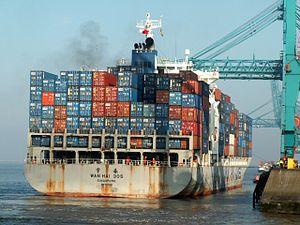 Wan Hai 305 IMO 9238181 , leaving Port of Rotterdam, Holland 31-May-2005.jpg