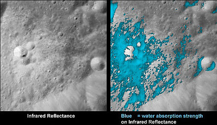 These images show water in a very young lunar crater on the side of the moon that faces away from Earth. Water Around Fresh Moon Crater.jpg