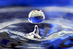 "Water - Impact from a water drop causes an upward ""rebound"" jet surrounded by circular capillary waves."