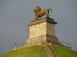 Lion's Mound - The lion on top of the mound at the site of the battle.