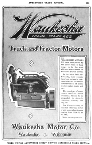 Waukesha Engine - Waukesha Motor Company advertisement in the Automobile Trade Journal, 1916.