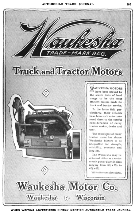 Waukesha Motor Company advertisement in the Automobile Trade Journal, 1916. Waukesha Motor Company advert in Automobile Trade Journal vol 20 1916.png