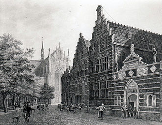 Holy Spirit Orphanage - The building of the orphanage on the Hooglandsekerkgracht in the 18th century.