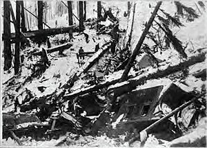 Stevens Pass - Debris — including wrecked train cars — resulting from the Wellington Avalanche.