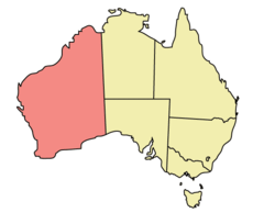 Map of Australia with  Australia Barat highlighted