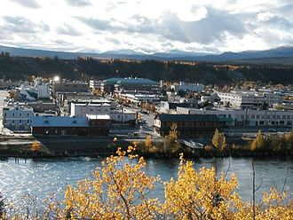 Northern Canada - Downtown Whitehorse, Yukon seen from the east side of the Yukon River.