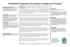 Press release wikipedia for Artist press release template