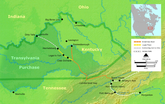 Richard Henderson (jurist) - The Transylvania Purchase at Sycamore Shoals in Elizabethton, Tennessee and The Wilderness Road into Kentucky.