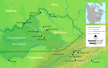 The  Transylvania Purchase at Sycamore Shoals in Elizabethton and the Wilderness Road into Kentucky.
