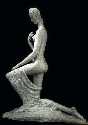 Wilhelm Lehmbruck - Wilhelm Lehmbruck, 1911, Femme á genoux (The Kneeling One), cast stone, 176 x 138 x 70 cm (69.2 x 54.5 x 27.5 in), Armory Show postcard