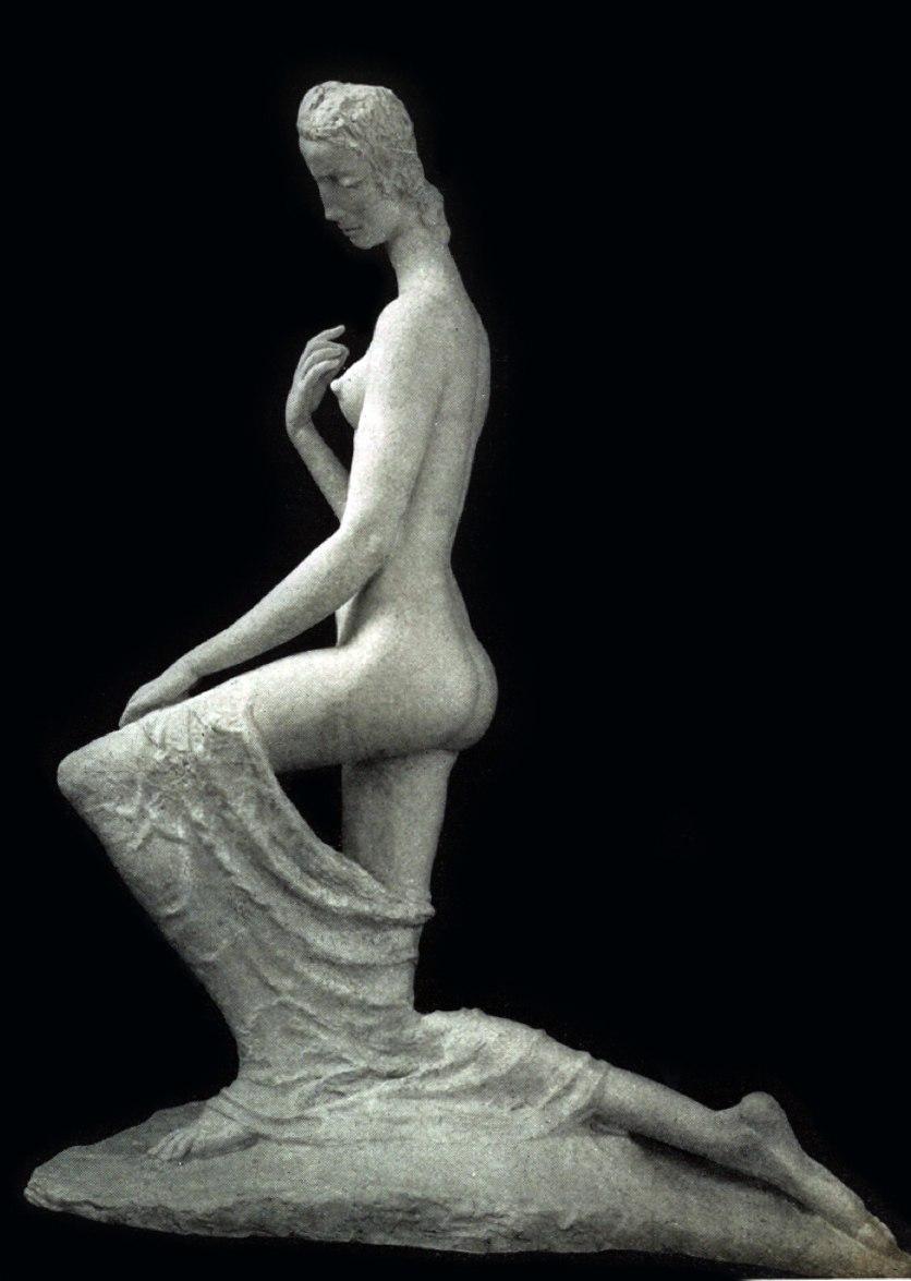 Wilhelm Lehmbruck, 1911, Femme á genoux (The Kneeling One), cast stone, plaster, 176 x 138 x 70 cm (69.2 x 54.5 x 27.5 in), Armory Show postcard