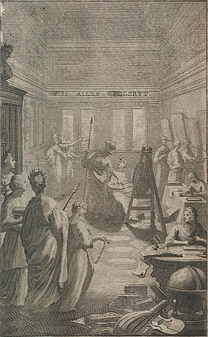 "Vrouwenhuis - Frontispiece to ""De groote waereld in 't klein geschildert"", a book on painting by Beurs published in 1692. This shows three ladies painting square-shaped canvases and looking at a woman model dressed as Pictura"