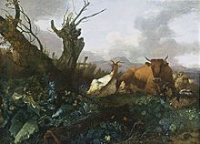 Willem Romeijn - Cow, Goats and Sheep in a Meadow - WGA20026.jpg