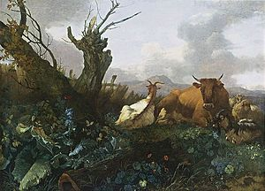 Willem Romeyn - Cow, Goats and Sheep in a Meadow