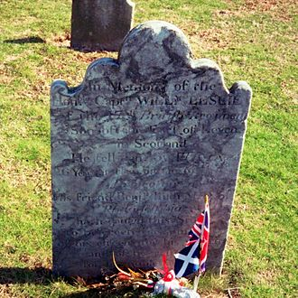Pluckemin, New Jersey - Gravestone of British Captain William Leslie, died during the Battle of Princeton, January 3, 1777