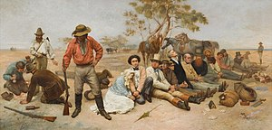 History of Australia (1851–1900) - William Strutt's Bushrangers in the St Kilda Road (1887), scene of frequent hold-ups during the Victorian gold rush by bushrangers known as the St Kilda Road robberies.