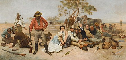 William Strutt's Bushrangers on the St Kilda Road (1887), scene of frequent hold-ups during the Victorian gold rush by bushrangers known as the St Kilda Road robberies. William Strutt Bushrangers.jpg