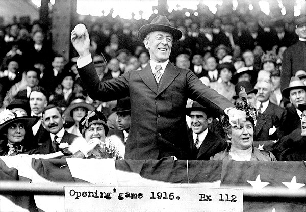 President Woodrow Wilson throws out the ceremonial first pitch on Opening Day in 1916 Wilson opening day 1916.jpg
