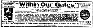 Within Our Gates - Newspaper advertisement