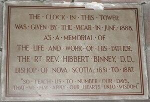 Hibbert Binney - Hibbert Binney memorial, St Helen Witton Church, Northwich, Witton, Northwich, Cheshire