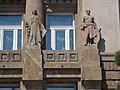 Woman with sword and man with hammer at the Foreign Ministry, 2016 Budapest.jpg