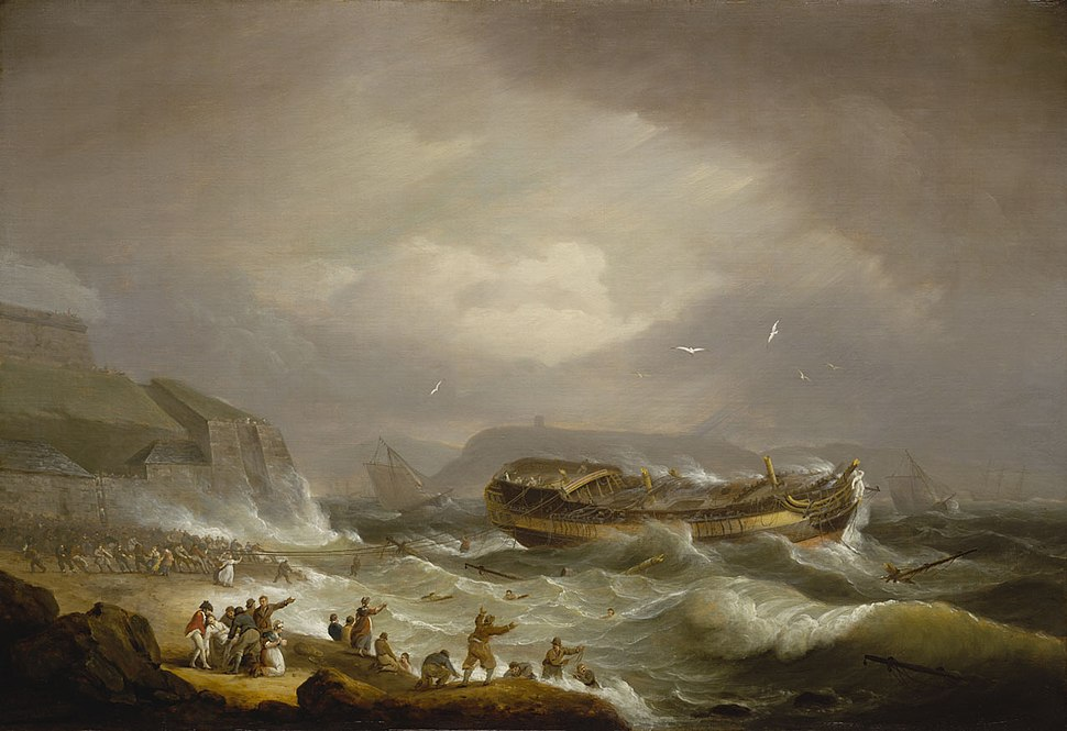 Wreck of the Dutton at PymouthSound, 26 January 1796, by Thomas Luny