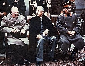 Foreign policy of the United States - Allies of World War II at the Yalta Conference: Winston Churchill, Franklin D. Roosevelt and Joseph Stalin.
