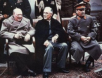 "Great power - The ""Big Three"" of Europe at the Yalta Conference: Winston Churchill, Franklin D. Roosevelt and Joseph Stalin"