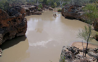 Yapunyah waterhole lake in Australia