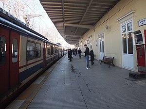 Yenikapı railway station - A Halkalı bound train at the station in 2012.