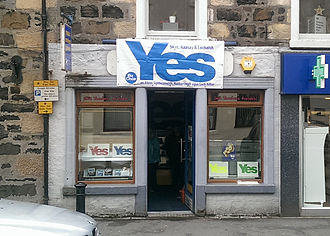 Scottish independence referendum, 2014 - Yes campaign poster on a shop