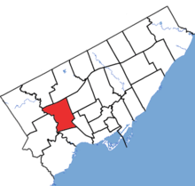York South-Weston in relation to the other Toronto ridings (2015 boundaries).png