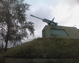 White Sea–Baltic Canal - An anti-tank gun in Povenets, commemorating the canal's defenders