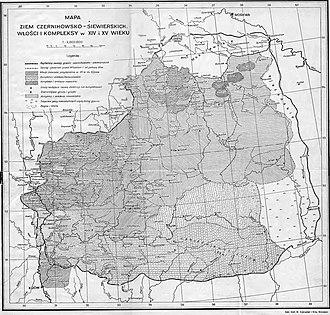 Мценск на карте Чернигово-Северских земель в XV веке (из книги Стефана Кучинского «Чернигово-Северские земли в составе Литвы», изданной в Варшаве в 1936 году)