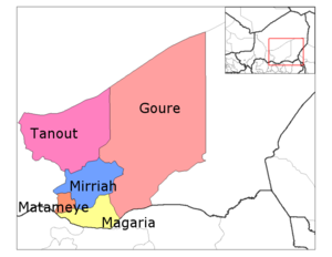 Magaria Department location in the region