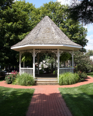 Zionsville, Indiana - Gazebo at the site of the town's first railroad depot. Located in Lincoln Park.