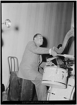 Zutty Singleton - Zutty Singleton  (with Adele Girard, harp), 1939 Photo: William P. Gottlieb.
