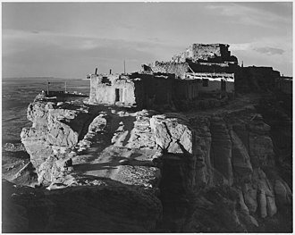 Walpi, Arizona - Walpi and First Mesa (1941). Photo by Ansel Adams.