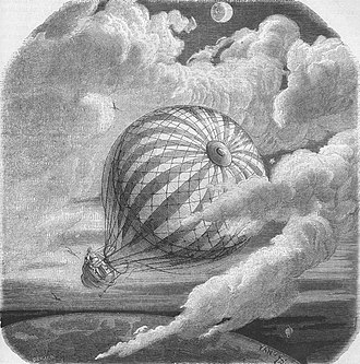 """Yan' Dargent - Voyage d'Hans Pfaall à la lune. An illustration from Jules Verne's essay """"Edgard Poë et ses oeuvres"""" (Edgar Poe and his Works, 1862) drawn by Frederic Lix and Yan' Dargent"""