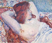 'Reclining Woman with Red Hair' by Théophile van Rysselberghe, Dayton Art Institute.JPG