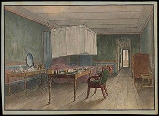 (Interior da residência (quarto de dormir) do Barão von Huguel (camareiro do Imperial Embaixador da Áustria, conde von Eltz) no Rio de Janeiro em 1817)