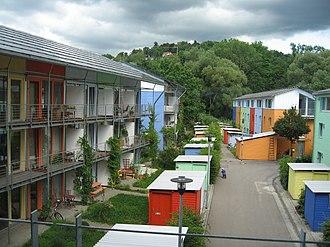 Vauban, Freiburg - A distinct colour scheme results in a varied neighbourhood