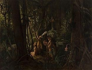 Amazonian Indians Worshiping the Sun God