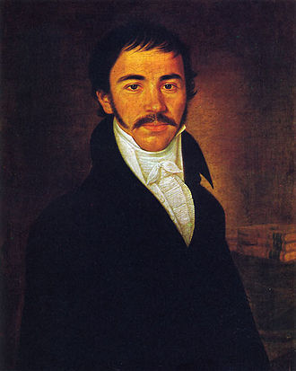 Vuk Karadžić - Oil painting by Pavel Đurković, dating to 1816 (age 29)