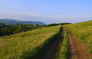 Ishimbaysky District - Image: Дорога по склону горы